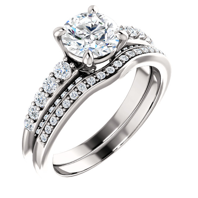 1.50ct 18kt white gold wedding set with band
