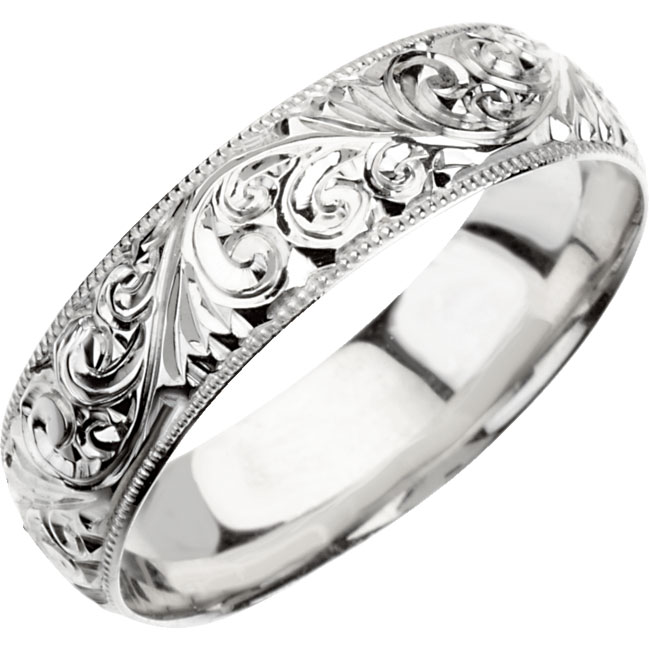 Hand Engraved Platinum Wedding Band