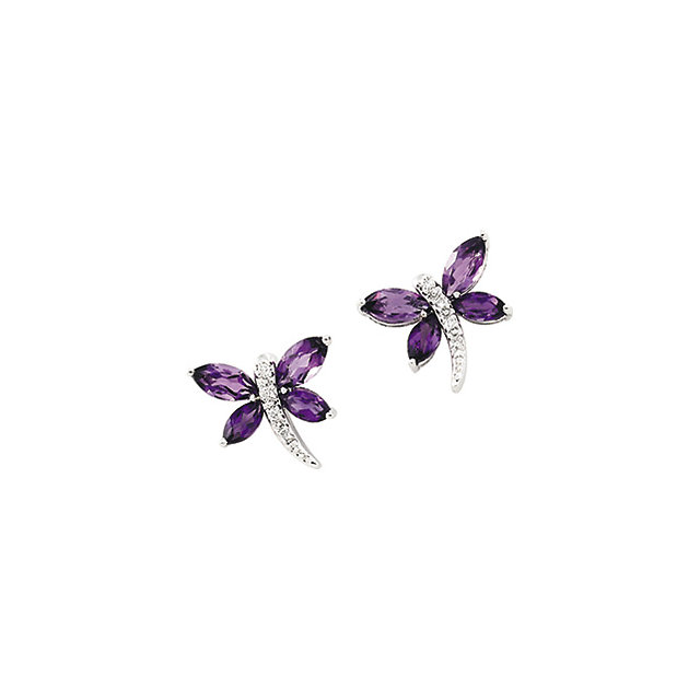 Amethyst and diamond butterfly earrings