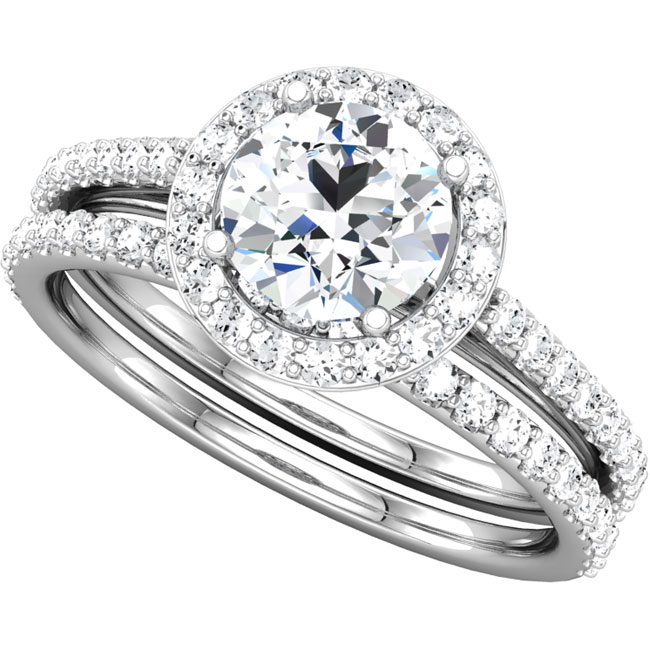Fantastic and elegant 1.55ct diamond engagement wedding ring with matching band
