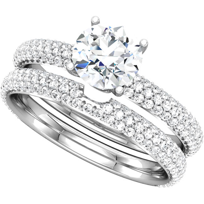 2.00ct total weight wedding set with SI clarity diamonds with 1.00ct center incl