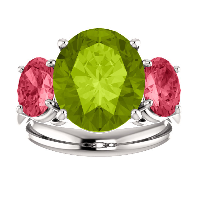 Natural Peridot and Pink Spinel Oval Gemstone Ring