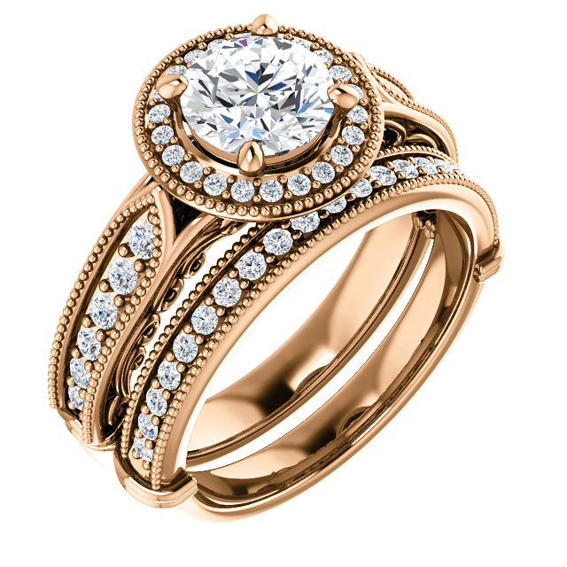 18kt rose gold wedding set